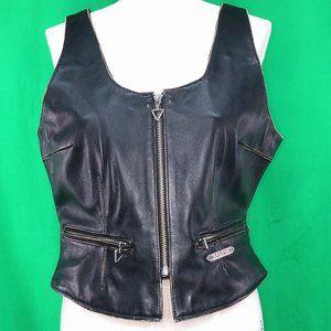 Harley Davidson XL Ladies Black Leather Vest Zip